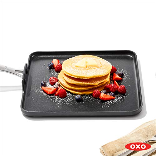 "OXO Good Grips Non-Stick Pro Dishwasher safe 11"" Square Griddle,Gray,11-Inch"
