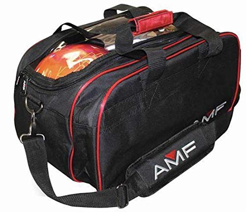 AMF Team Double Tote Black Red Clear Top Bowling Bag...