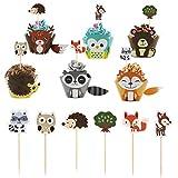 Keleily Lindos Envoltorios de Cupcakes de Animales 48 Piezas Toppers y Envoltorios de Cupcakes que Incluyen Zorros, Osos, Ciervos, Erizos, Pájaros para Niños, Cumpleaños, Baby Shower