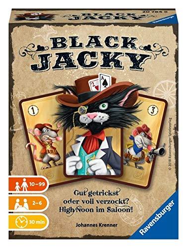 Ravensburger 20784 - Black Jacky, Bluffen ab 10 Jahren, Kartenspiel für 2-6 Spieler, Gesellschaftsspiel im Saloon, Kartentricks