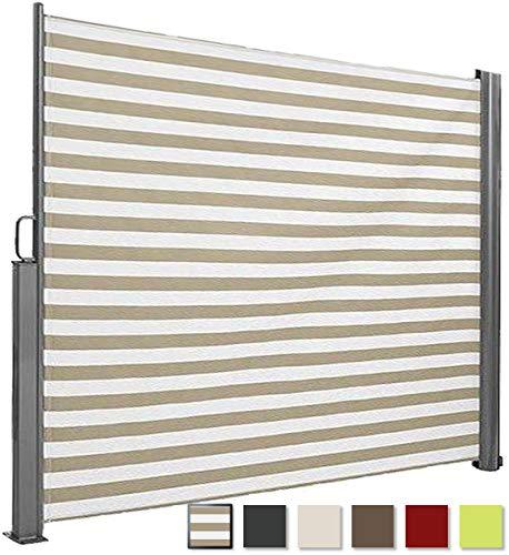 Brubaker Seitenmarkise Maui für Balkon und Terrasse - Ausziehbar - Aluminium - weiß/Creme gestreift - 300 x 180 cm