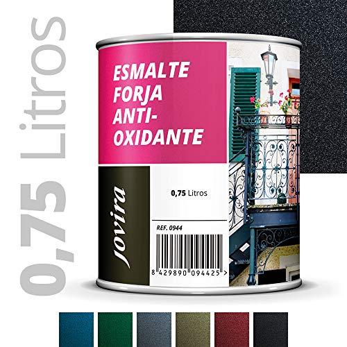 ESMALTE FORJA ANTIOXIDANTE, proteccion y decoracion sobre acero. (750ML- 1.3 kilos, NEGRO)
