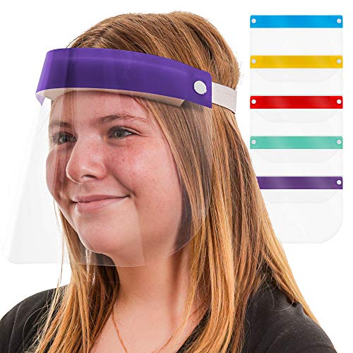 TCP Global Salon World Safety Kids Face Shields (Pack of 5) - 5 Colors, 1 Each - Clear Protective Children's Full Face Shields to Protect Eyes, Nose, Mouth - Anti-Fog PET Plastic, Elastic Headband