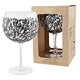 Hand Decorated Gin & Tonic Glass Black Floral Design Sunny by Sue