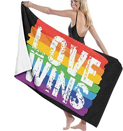 Toalla De Baño Suave Súper Absorbente Y Ligera Toalla De Baño del Orgullo Gay Love Wins Toallas De Playa Impresas De Microfibra Suave para Adultos Toalla De Viaje Adecuadas para Niños Y Adultos