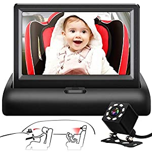 "Shynerk Baby Car Mirror, 4.3"" HD Night Vision Function Car Mirror Display, Safety Car Seat Mirror Camera Monitored…"