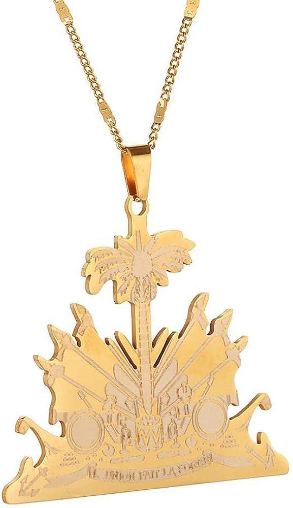 Trendy Stainless Steel Pendant Necklace Fashion Women Jewelry Charm Haiti Jewelry
