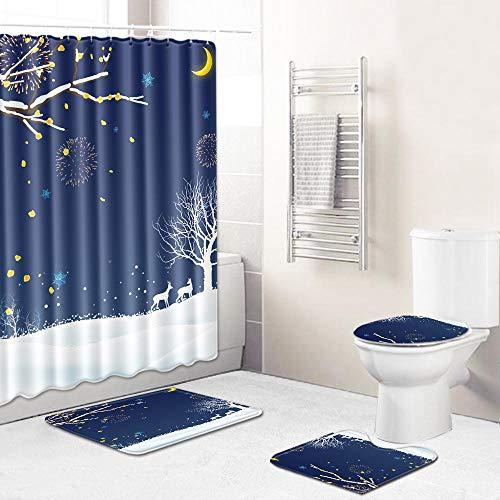 Ginsenget 16 Pieces Bath Set Super Soft Bath Mat,U-Shaped Contour Mat,Shower Curtain,Toilet Seat Cover,12 Matching Roller Shower Hooks,Christmas