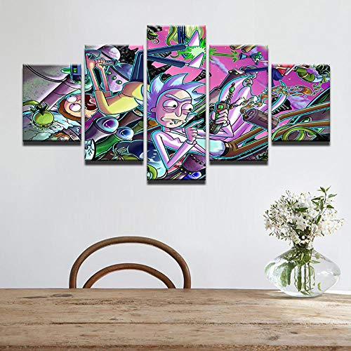 WARMBERL Lienzo de impresión Hd moderna lienzo 5 paneles comedia animación modular arte de la pared decoración del hogar cartel marco salón impresiones en lienzo enmarcado