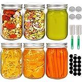 12oz Mason Jars, Glass Jars with Lids Set of 6, Regular Mouth Canning Jars Ideal for Oats, Wedding Favors, Drinking, Salads, DIY Jam Jars