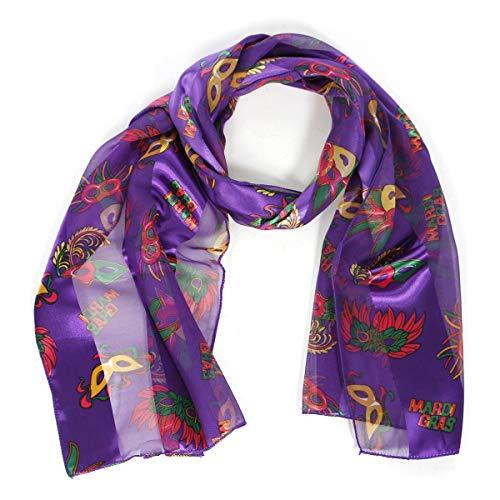 Satin Scarf Hair Wraps for Women, Music Note Gifts, American Flag Bandana, Shamrock Clover Scarves, Mardi Gras Mask Purple