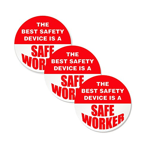 """The Best Safety Device Is A Safe Worker (3 pack) - Full Color Printed - (size: 2"""" ROUND color: RED/WHITE) - Hard Hat, Helmet, Windows, Walls, Bumpers, Laptop, Lockers, etc."""