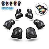 PHZ. Kids 8 in 1 Knee Pads Elbow Pads Wrist Guards Toddler Gloves Protective Gear Set for Rollerblading Skateboard Cycling Skating Bike (Black-Unisex)