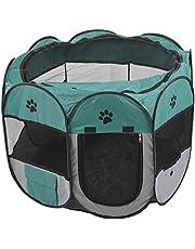 01 Parque para Mascotas Duradero, Jaula para Mascotas, Sala de partos Plegable portátil para Mascotas, Tienda de Juegos para(M, XBD82 Green Gray no Kettle Toy)
