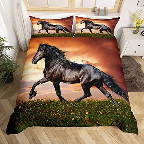 Wildpferde-Bettbezug, Doppelgröße, schwarzes Pferd, Teenager, Bettdeckenbezug, Tiermuster, Bettwäsche, Pferd, bedruckt, Dekor, Steppdecke für Erwachsene, Tagesdecke, Bettbezug für Sonnenuntergang