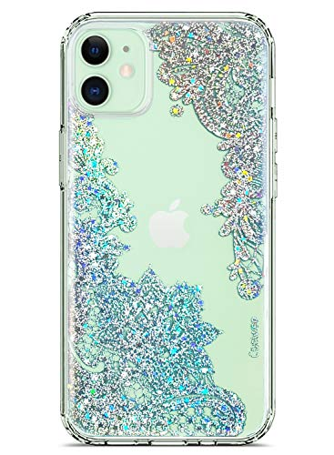 Coolwee Clear Glitter Compatible with iPhone 12 Case Thin Flower Slim Cute Crystal Lace Bling Women Girls Floral Hard Back Soft TPU Bumper Protective Cover for Apple iPhone 12 Mandala Henna Sparkle