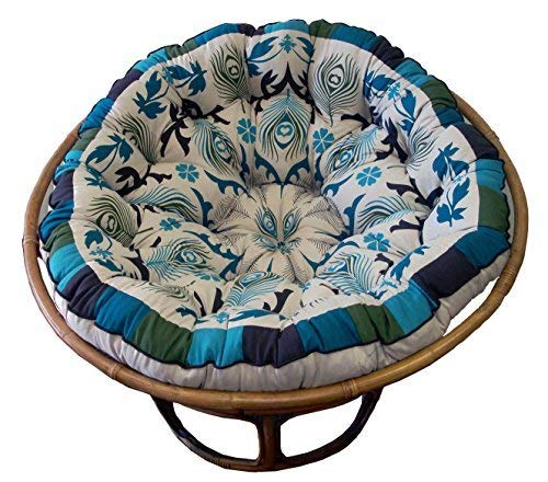 Cotton Craft Papasan Peacock Blue Overstuffed Chair Cushion, Sink into our comfortable Papasan,...