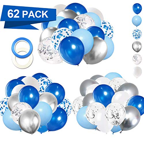 62 Pack Blue Silver White Confetti Balloons Kit- 12 Inch White Royal Blue Balloons Metallic Silver Balloons Blue Sliver Confetti Balloons and 64ft Ballloon Ribbon for Boy Birthday Decorations Baby Shower Graduation Party Supplies
