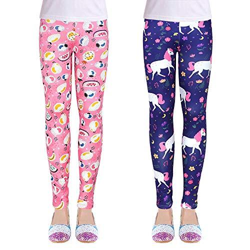 OioTuyi Mädchen Leggings Knöchellange Hosen Drucken Blumen Gymnastik Kleidung Hosen für 3-14 Jahre_9XFXM#70