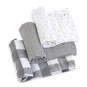 crib bedding and baby bedding burt's bees baby-hm25787 - swaddles, muslin cotton baby blankets, 3-pack, multipurpose lightweight & breathable 100% organic cotton (starry eyes)