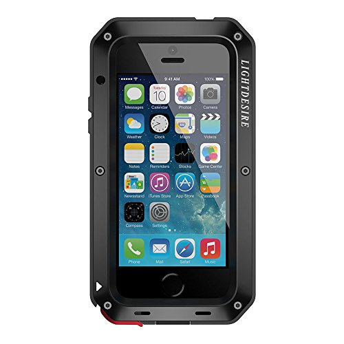 iPhone 8 Plus Heavy Duty Case, 7 Plus Metal Case, 5.5 Inch LIGHTDESIRE Aluminum Protective Metal Extreme Water Resistant Shockproof Military Bumper Cover Shell - Black