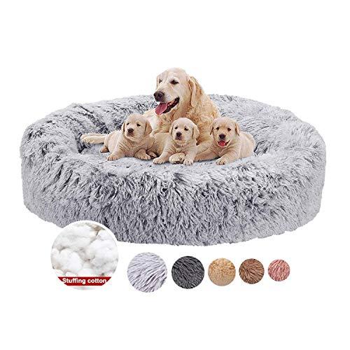 Haustierbett Plüsch Grau Donut Rund Tierbett weich, Hundesofa Weicher Waschbar Katzenbett für mittlere und groß Hunde, Sehr weich, Maschinenwaschbar - Ø 80cm