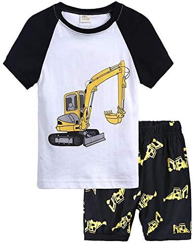 Boys Summer Pajamas Children Excavator Clothes Set 100 Cotton Little Kids Pjs Sleepwear Excavator product image