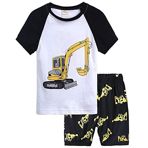 Boys Summer Pajamas Children Excavator Clothes Set 100% Cotton Little Kids Pjs Sleepwear(Excavator-93 5T)