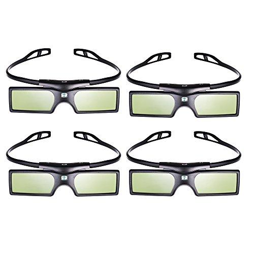 Pergear 3D Active Shutter Glasses Bluetooth Eyewear Glasses for Samsung/Panasonic/LG Bluetooth 3D TVs (4 PCS)