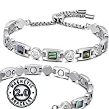 RainSo Women Titanium Steel Shell Magnetic Therapy Health Care Bracelet Pain Relief