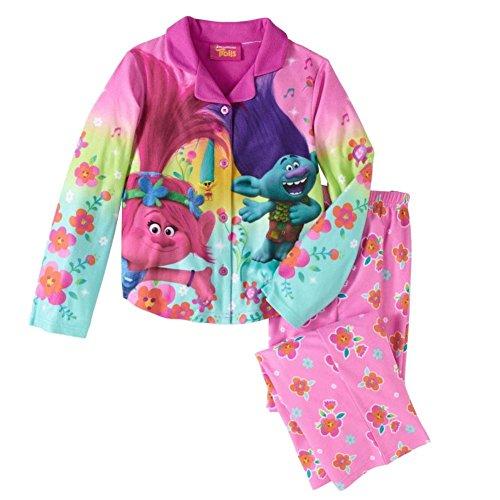 Girls Pink Flannel Trolls Movie Pajamas Poppy & Branch Button Front Sleep Set L