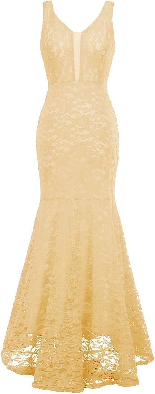 Bess Bridal Women's Mermaid Lace V Neck Long Formal Prom Evening Wedding Dress