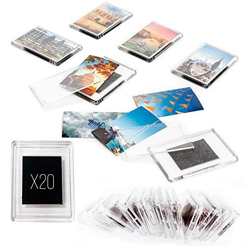 Marco de fotos magnético para nevera (lote de 20) – 4 x 5 cm – Imán magnético para frigorífico acrílico transparente –Formato de foto identificado