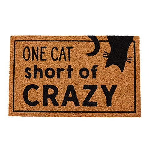 Mud Pie Crazy Cat Lady Door Mat Coir Doormat,