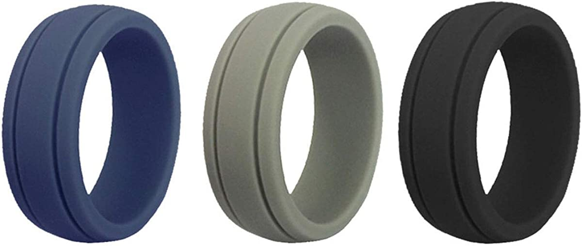 Kebaner Mens Womens 3/4/5/7/10 Pack 8 MM Wide Silicone Wedding Rings Rubber Bands for Sports Outdoors