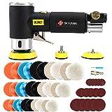 SI FANG 25mm 50mm 80mm エアサンダー ミニエアダブルアクションサンダー、エアポリッシャー、DIYエアポリッシャー、サンダーには、18個の研磨パッド、9個のウールパッド、15個のサンドディスク (黒)