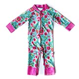 Honeysuckle Swim Company Baby Girl Swimsuit - Certified UPF 50+ - Easy Inseam Diaper Zipper (2T, Flower Power)