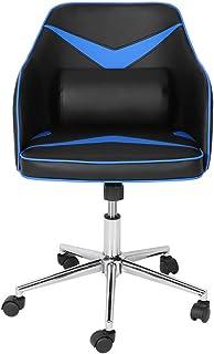 Estink - Silla de ordenador de carreras, silla de oficina con cojín de masaje USB, silla de oficina de piel sintética, altura ajustable