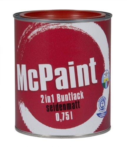 McPaint 2in1 Buntlack Grundierung und Lack in einem für Innen und Außen. PU verstärkt - speziell für Möbel und Kinderspielzeug seidenmatt Farbton: RAL 3000 Feurrot 0,75 Liter - Bastellack