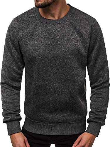 OZONEE Herren Sweatshirt Pullover Langarm Farbvarianten Langarmshirt Pulli ohne Kapuze Baumwolle Baumwollemischung Classic Basic Rundhals-Ausschnitt Sport J. Style 2001-20 L SCHWARZ