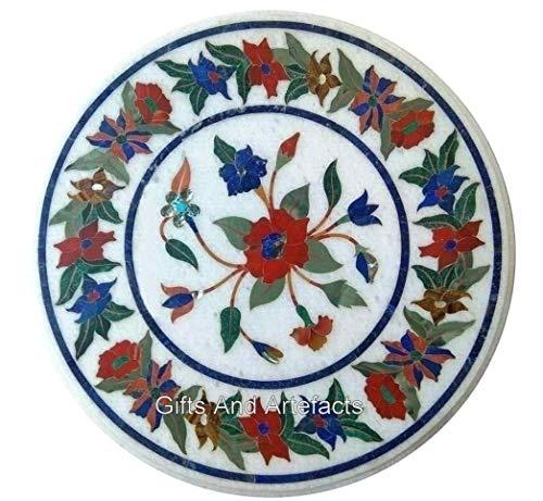 Gifts And Artefacts Table basse ronde en pierre de 61 cm avec motif marqueterie Art élégant