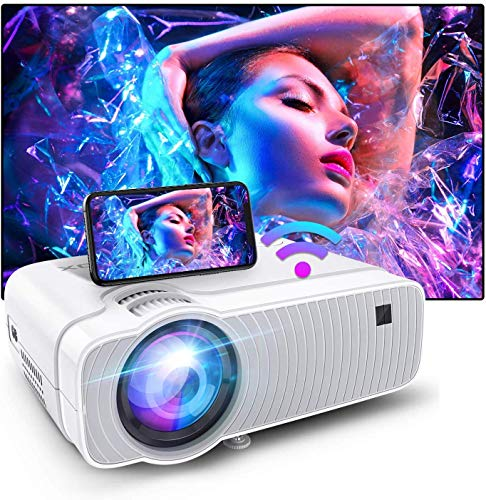 Bomaker WiFi Mini Projector HD 1080P Supported Native 1280x720P and 120 ANSI Lumen Portable Home Theater Outdoor Video Movie ProjectorCompatible with TV Stick Video GamesPS4DVD PlayersiPhone