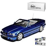 B-M-W 3er E36 M3 Cabrio Blau 1990-2000 Nr 279 1/18 Otto Modell Auto mit individiuellem Wunschkennzeichen