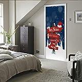 XMDPFF Engomada Etiqueta Puerta 3DCartas creativas navideñas88x210cmArte Papel Tapiz Sala de Estar Dormitorio Creativo DIY Etiqueta engomada del hogar PVC Impermeable Puerta Mural