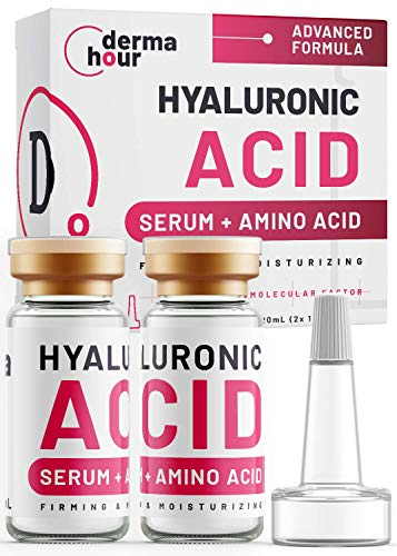 WINNER 2021. Hyaluronic Acid Serum Dermatologist Developed by DermaHour. HA 9.4X Effect Toner for face skin, eyes wrinkles and daily skincare routine. Anti-ageing care. Day/Night 2x 10ml (20ml)