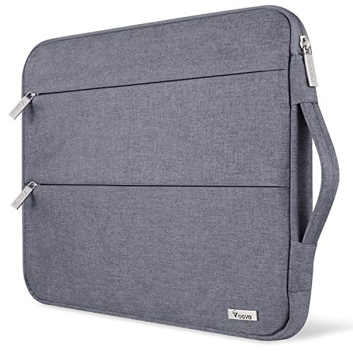 Voova 15.6 14 15 Inch Laptop Sleeve Case with Handle, Waterproof Computer Cover Bag with Pocket Compatible with 2019 MacBook Pro 16/15, Dell Lenovo HP Asus Acer Samsung Chromebook, Grey