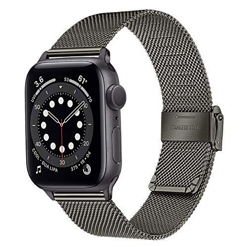 TRUMiRR Sostituzione per Apple Watch 42mm 44mm Cinturino, Cinturino in Acciaio Inossidabile Nero Cinturino in Metallo Intrecciato a Rete per iWatch Apple Watch SE Series 6, 5, Series 4, Series 3 2 1