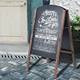 COSTWAY Chalkboard A-Board, Double Sided Replaceable Blackboard, with 4 Writing Board Frame Pavement Sign | Freestanding Advertising Board for Café, Shop, Pub, Outdoor and Indoor (41 x 45 x 80 cm)