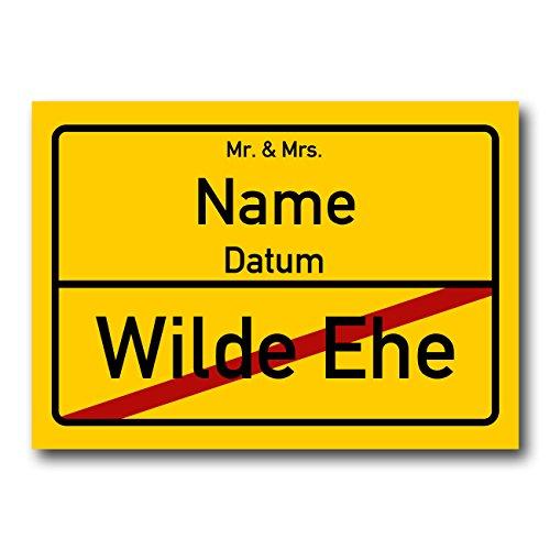 Herz & Heim® XXL PVC Ortsschild zur Hochzeit mit Familiennamen und Hochzeitsdatum