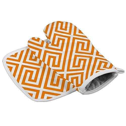 Grecs Orange Grecs Motif Géométrique Gants de Four et Pots Épaissir Résistant à la Chaleur Gants Souple Antidérapants pour la Cuisson Personnalisé